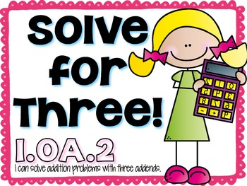 First Grade Common Core Math Station 1.OA.2 { Free }