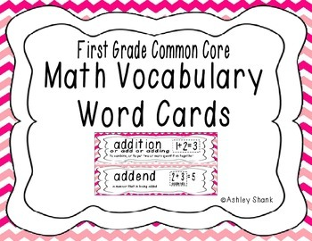First Grade Common Core Math Vocabulary Word Cards - Pink Chevron