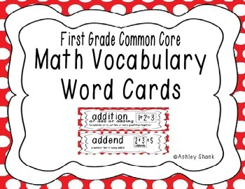 First Grade Common Core Math Vocabulary Word Cards - Red P
