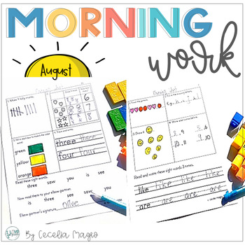 First Grade Morning Work {Literacy and Math} 1st Month