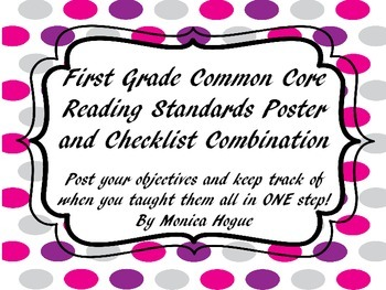 First Grade Common Core  Reading Standards Poster and Chec