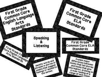 First Grade Common Core Standards ELA Posters: Black & Whi