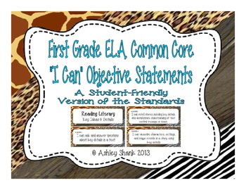 First Grade Common Core Student-Friendly ELA Standards - A