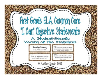 First Grade Common Core Student-Friendly ELA Standards - C