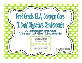 First Grade Common Core Student-Friendly ELA Standards - G