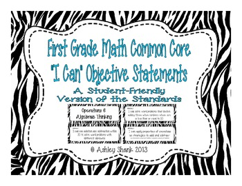 First Grade Common Core Student-Friendly Math Standards -