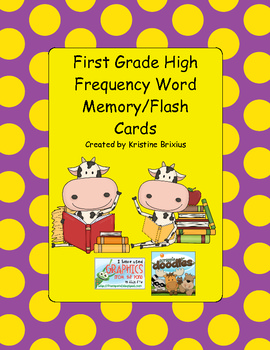 First Grade Cow Memory High Frequency Words Flash Cards Full Set