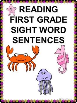 Reading First Grade: Sight Word Sentences (No Prep Worksheets)