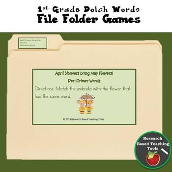 First Grade Dolch Words File Folder Game April Showers Bri
