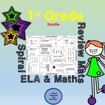 First Grade ELA Math Review Mats