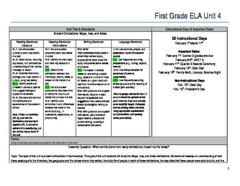 First Grade ELA Unit Plan- Ancient Civilizations (Aztec, I