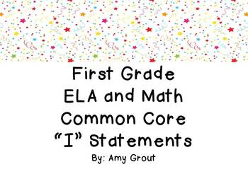 "First Grade ELA and Math CCSS ""I Can"" Statements: Circus-Themed"