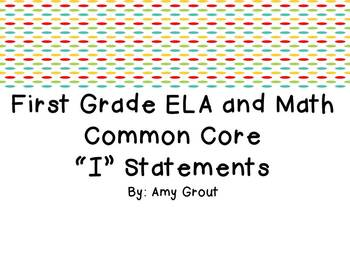 "First Grade ELA and Math CCSS ""I Can"" Statements: Owl-Themed"