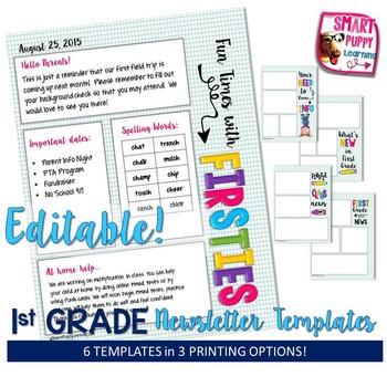 First Grade Editable Newsletter Templates