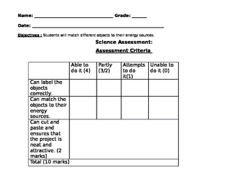 First Grade Energy Assessment Cut-and-Paste Activity