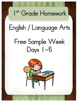 First Grade English / Language Arts Homework Free Sample Week