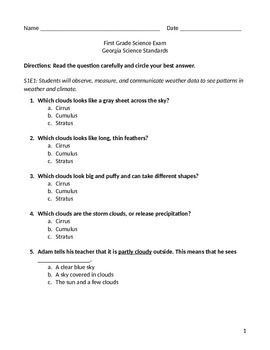 First Grade Georgia Standards Science Exam