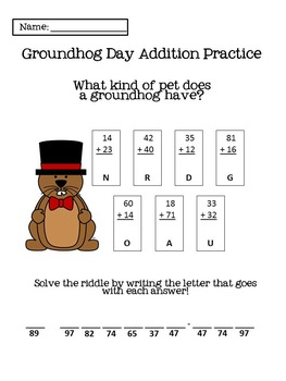 First Grade Groundhog Day Packet