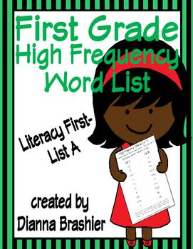 First Grade Sight Words List A (Literacy First) Word List