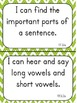 """First Grade """"I Can"""" Statements for ELA EDITABLE!"""