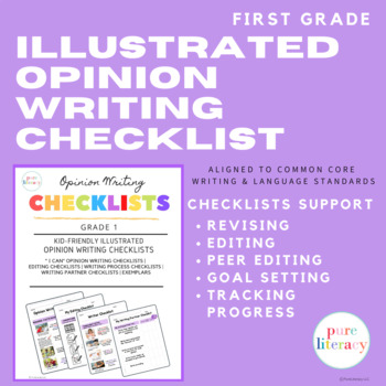 First Grade Illustrated Opinion Writing Checklists