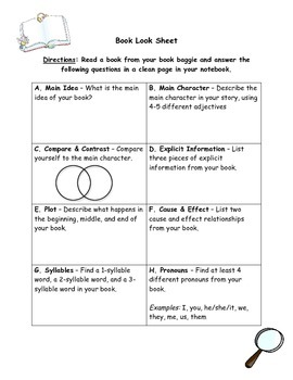 First Grade Independent Reading Worksheet