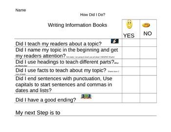 First Grade Informational Writing Checklist