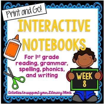 First Grade Interactive Notebook Week 8 Short O, Sequencin