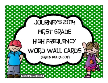 First Grade Journeys High Frequency Word Wall (Green Polka Dot)