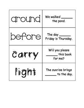 First Grade Journeys Unit 4 Sight Word Cards