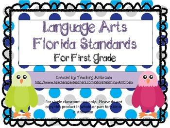 First Grade Language Arts Florida Standards Checklist Eagl