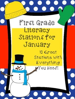 First Grade Literacy Stations for January (10 Ready to Go