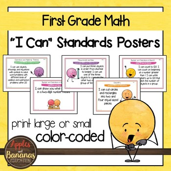 "First Grade MATH Common Core ""I Can"" Classroom Posters and"