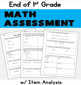 First Grade Math Assessment: End of Year:  Use with EngageNY