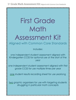 First Grade Math Assessment aligned with CCSS--yearlong, r