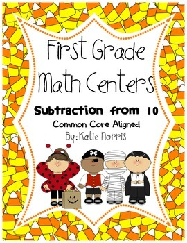 First Grade Math Centers-Subtraction from 10 or Less