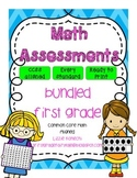 First Grade Math Common Core Aligned Assessments Units 1-5