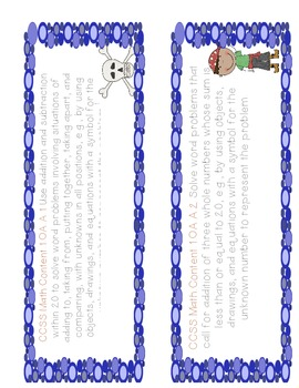 First Grade Math Common Core Objectives 1/2 Page Labels