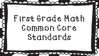 1st Grade Math Standards Posters on Black Sunburst Frame