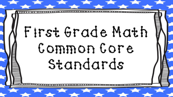 1st Grade Math Standards Posters on Blue Star Frame
