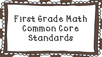 1st Grade Math Standards Posters on Brown Sunburst Frame