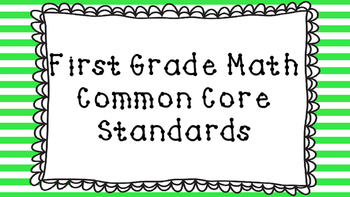 1st Grade Math Standards Posters on Green Striped Frame