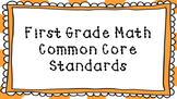 1st Grade Math Standards Posters on Orange Sunburst Frame