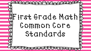 1st Grade Math Standards Posters on Pink Striped Frame