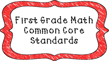 1st Grade Math Standards Posters on Red Crayon Colored Frame