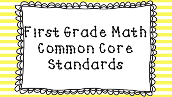 1st Grade Math Standards Posters on Yellow Striped Frame