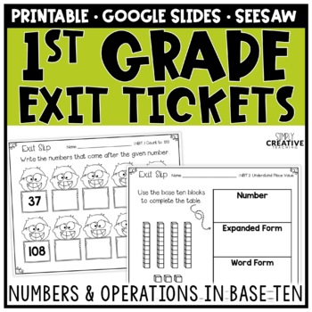 First Grade Math Exit Slips Numbers & Operations in Base Ten