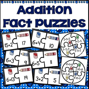 First Grade Math Fact Fluency & Related Facts Puzzles