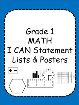 First Grade Math I Can Statements