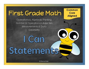 "First Grade Math - ""I Can Statements"" (Common Core Aligned)"